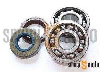 Łożyska wału i uszczelniacze SMG Racing Metal, Minarelli AM - do wału Carenzi, Motoforce Evo / HQ (20mm / 17mm, Koyo + Corteco)
