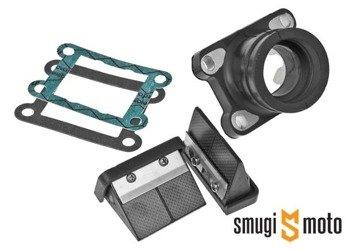Zawór z króćcem Italkit VForce Carbon, 28mm przelot / 35mm wyjście, Minarelli AM