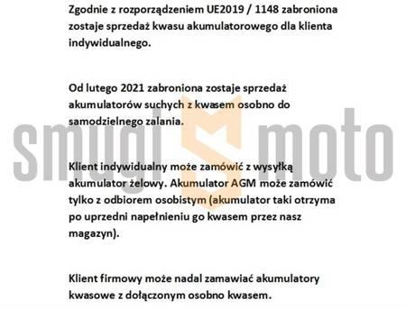 Akumulator AGM BS YB10L-B2 (BB10L-B2) (FA) 12V 11AH 136X91X146 BEZOBSŁUGOWY - ZALANY (160A), np. Piaggio X-EVO 125, Suzuki GS 500 + kaucja 30zł