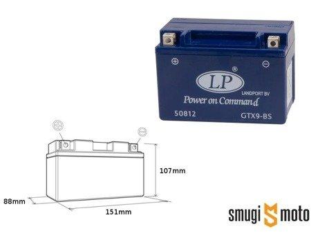 Akumulator żelowy Landport GTX9-4, 12V 8AH 151x88x107, bezobsługowy