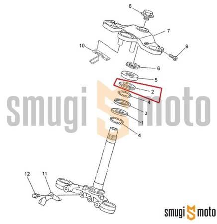 Bieżnia łożyska główki ramy, górna, Yamaha TZR 50 '03-12