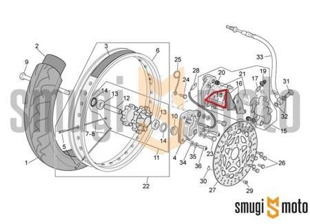 Bolec mocujący klocki hamulcowe koła tylnego, Aprilia RST 1000 Futura '01-03, MX 125 Supermotorad '04-06, RX-SX 125 '08-10