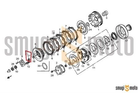 Nakrętka piasty sprzęgła tarczowego, 16mm, Honda TRX 125 / 200 / 250