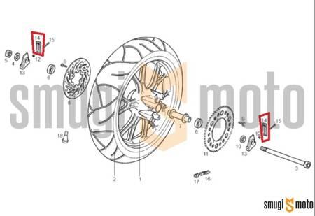 Napinacz łańcucha napędowego / zaślepka wahacza, Aprilia RS 50 '06-10, Derbi GPR 50 / 125 '04-08, Senda DRD Pro '05-11