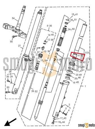 Panewka przedniego zawieszenia, górna (na ladze) Yamaha TDM 850 '91-95, XP 500 T-Max '05-07, XJ6 Diversion '09-15