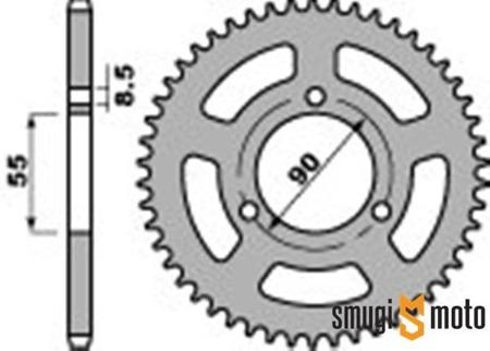 Zębatka tylna PBR [420] 47z, Rieju 50 03-10 (55mm / 90mm)